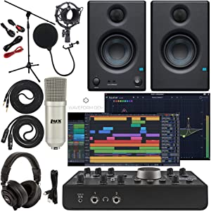 """Mackie Big Knob Studio Monitor Controller and Audio Interface with Pro Tools First/Tracktion Music Production Software, w/Eris 3.5 Pair Studio Monitors, Condenser Microphone, 1/4"""" Instrument Cables"""