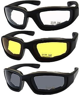 bae4db0ab7 Amazon.com  3 Pair Motorcycle Riding Glasses Smoke Clear Yellow ...