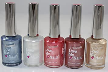 Amazon.com: Bari Chrome Love My Nails - 5pc. Assorted Colors Nail ...