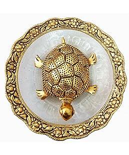 Trendy Crafts Metal Feng Shui Tortoise on Plate Showpiece (Golden, Diameter: 5.5 Inch)