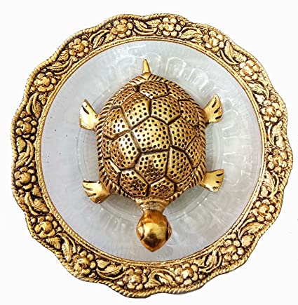 Trendy Crafts Metal Feng Shui Tortoise On Plate Showpiece (Golden, Diameter: 5.5 Inch)
