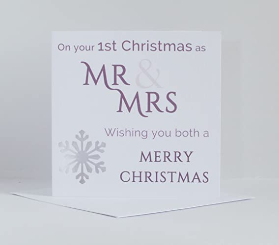 1st Christmas Card For Newlyweds Mr Mrs First Christmas Card For
