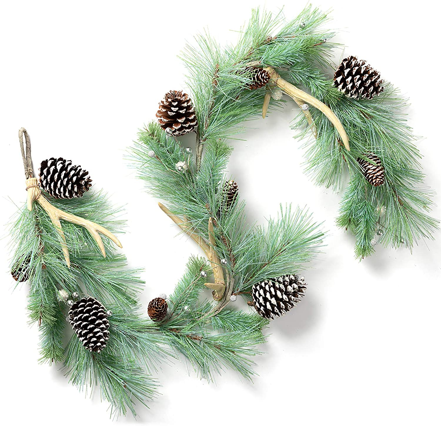 LOHASBEE Artificial Christmas Garland, 5 Feet Pine Cone Frosted Garland with Deer Antlers, Silver Berries for Christmas Indoor Outdoor Garden Gate Home Decor