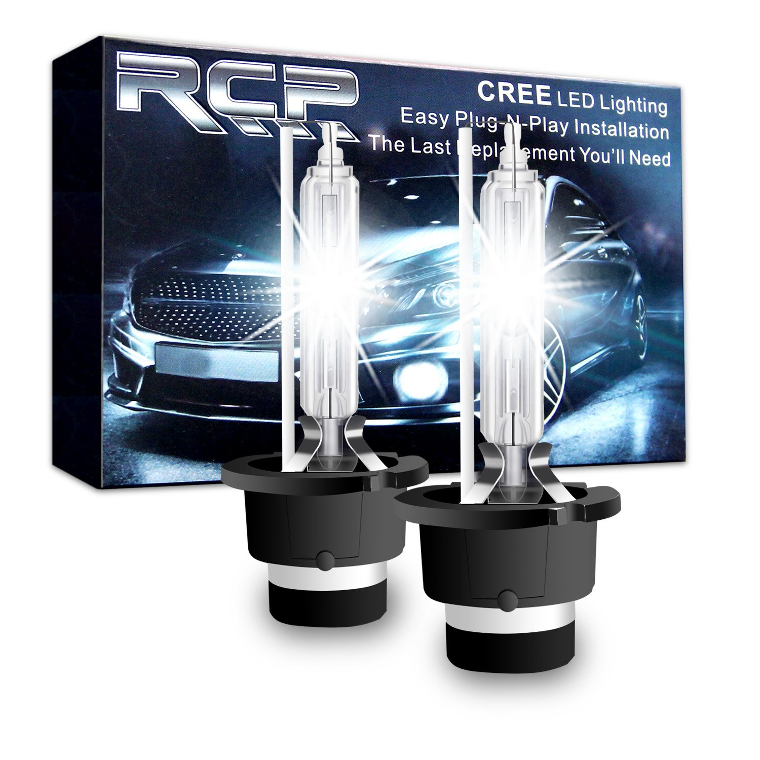 Amazon.com: RCP - D2S6 - (A Pair) D2S/ D2R 6000K Xenon HID Replacement Bulb  Diamond White Metal Stents Base 12V Car Headlight Lamps Head Lights 35W: ...
