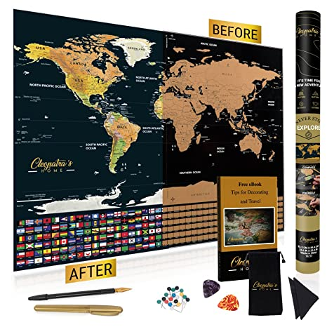 Amazon scratch off map of the world by cleopatras home scratch off map of the world by cleopatras home deluxe atlas poster with magnifying glass gumiabroncs Images