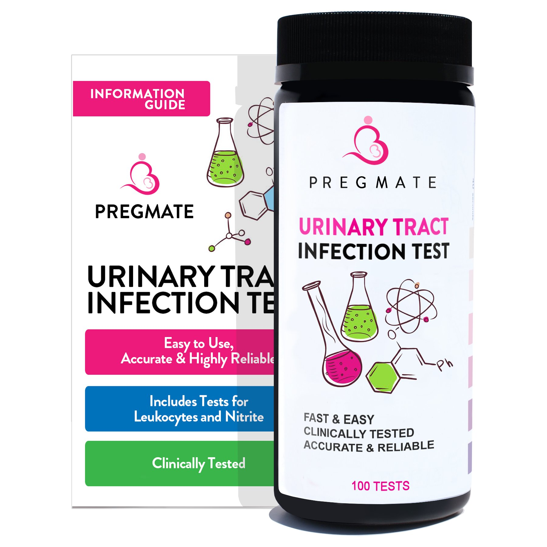 PREGMATE Urinary Tract Infection UTI Test Strips Leukocytes And Nitrite (100 Tests)