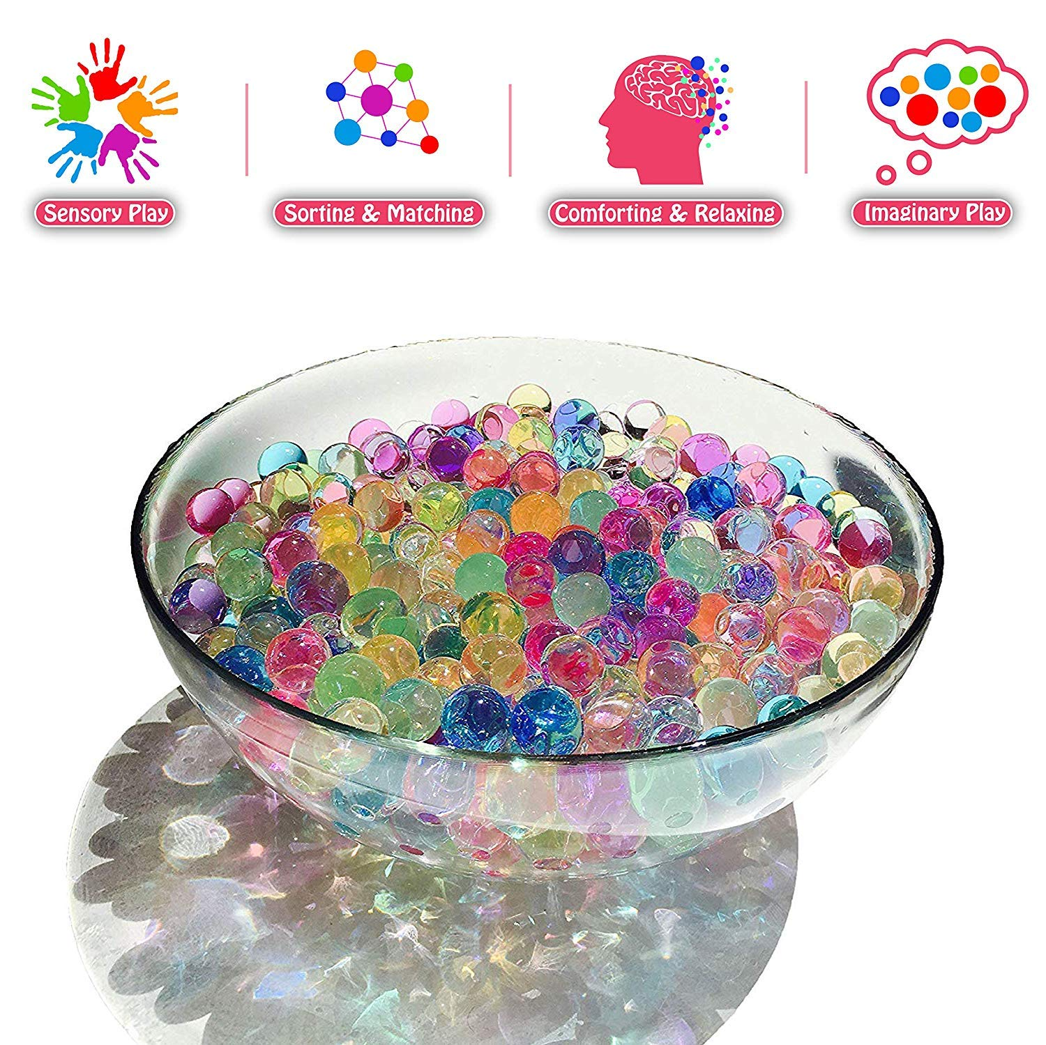 15 Ounces 0.95 pounds for Kids Sensory Play and Spa Refill Elements Trading Inc MarvelBeads Water Beads Rainbow Mix Non-Toxic