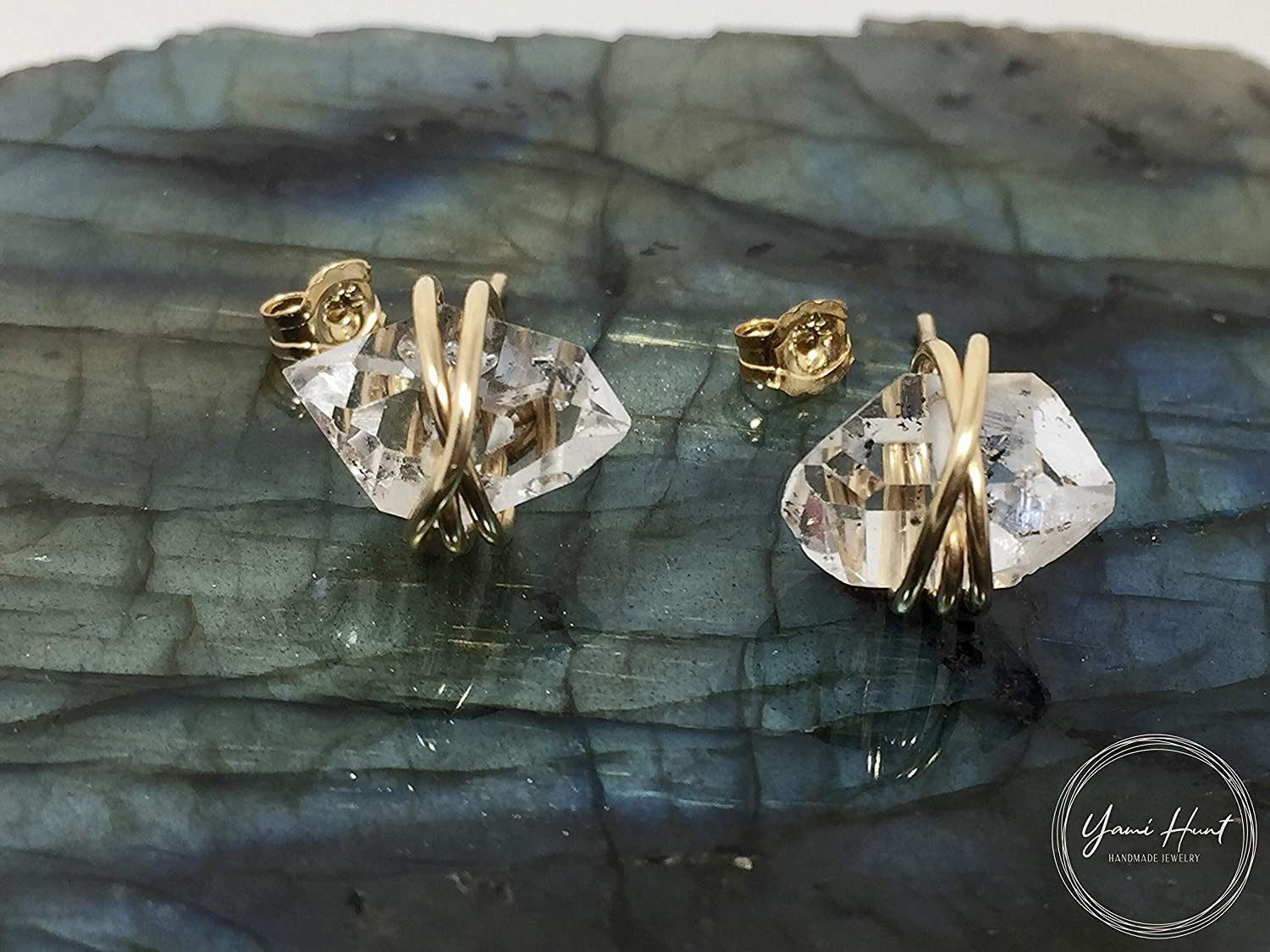 Herkimer Diamond Quartz Crystal Stud Earrings Large Size Stering Silver Wire and Backings Stud Earrings April Birthstone Herkimer Diamond Crystal Gift For Her