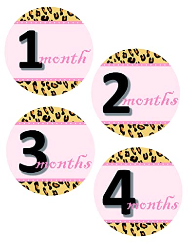 image about Baby Month Stickers Printable identified as : Animal Print Little one Thirty day period Stickers Woman, Leopard