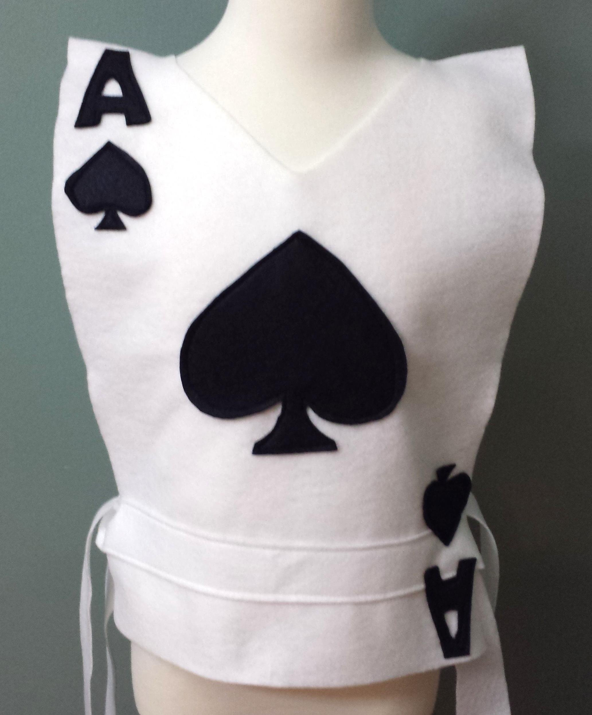 Kids Spades Playing Card Costume Tunic - Choose your Card (Alice in Wonderland) - Baby/Toddler/Kids/Teen/Adult Sizes