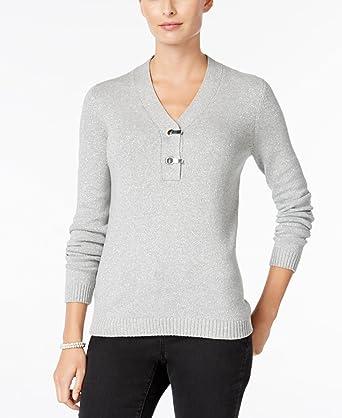 Charter Club Womens Metallic Henley Sweater At Amazon Womens
