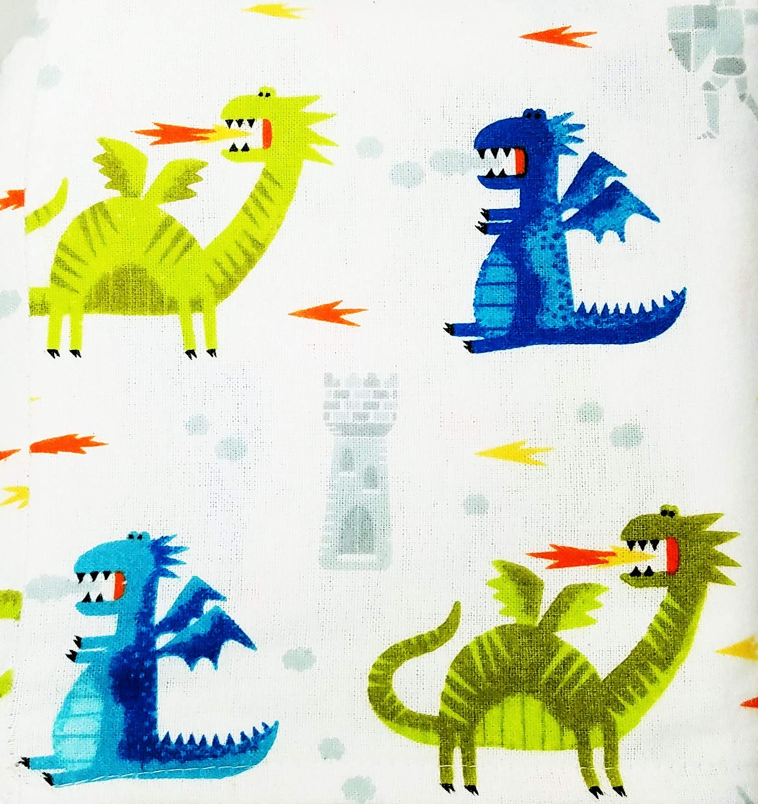 Pillowfort-Colorful-Dragons-Castles-and-Knights-Flannel-4-Piece-Sheet-Set-Full-Size