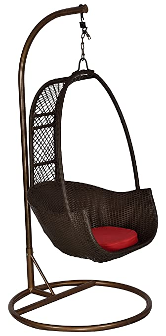 """FurniFutureâ""""¢ Royal Outdoor Hanging Swing Chair With Stand - (Coffee Brown)"""