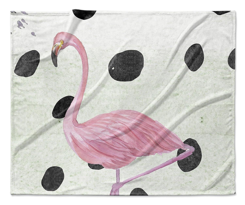 Green//Black//Pink RVIAVC1698VPL KAVKA Designs Flamingo Fleece Blanket, Size: 80x60x1 - - PARISIAN Collection