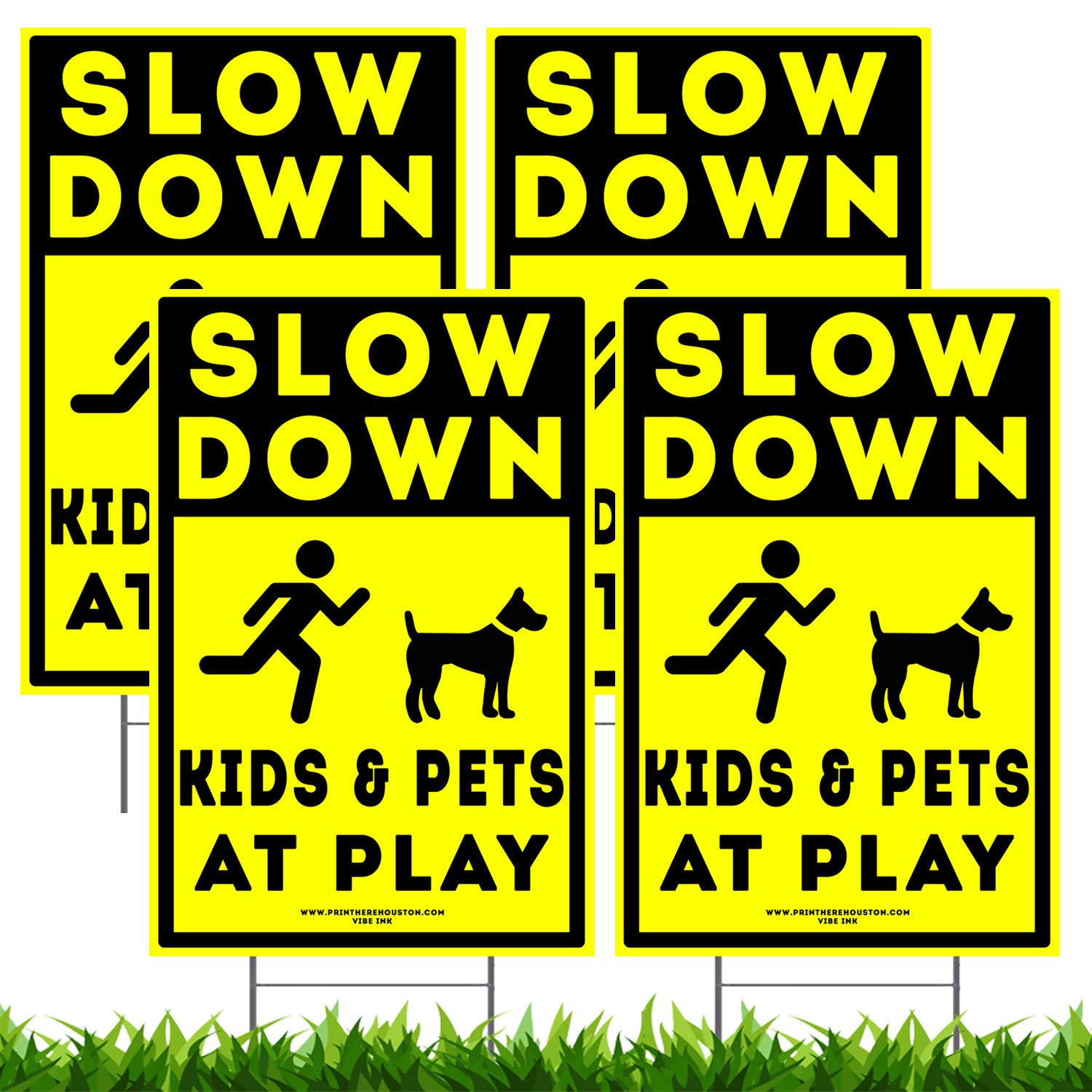 Vibe Ink 12'' x 18'' Slow Down - Kids & Pets at Play Neighborhood Street Caution Yard Signs - Lawn Sign w/Metal Stake (4)