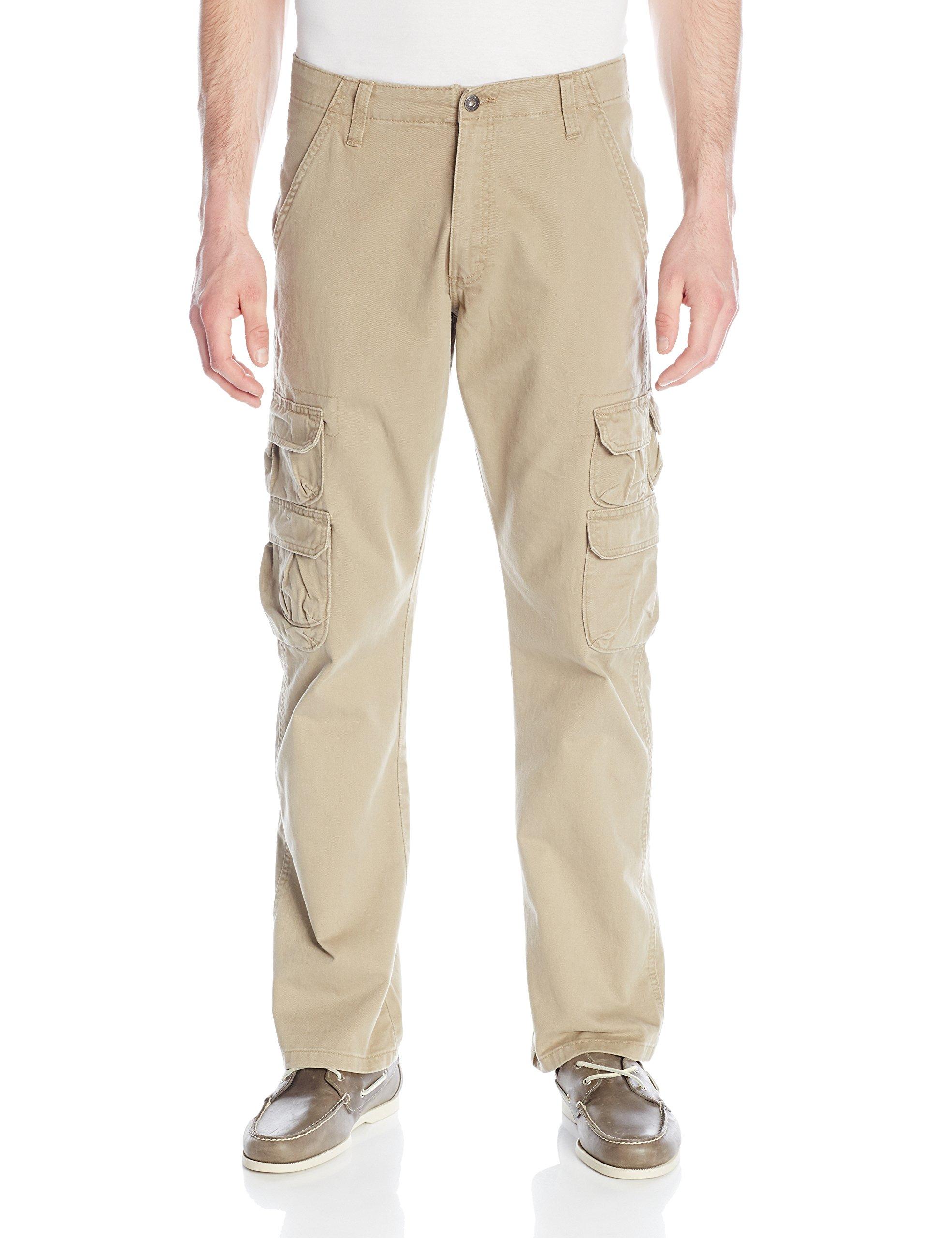 Wrangler Authentics Men's Premium Twill Cargo Pant, British Khaki, 38x30