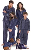 PajamaGram Dots and Stripes Matching Family Pajamas, Navy Blue
