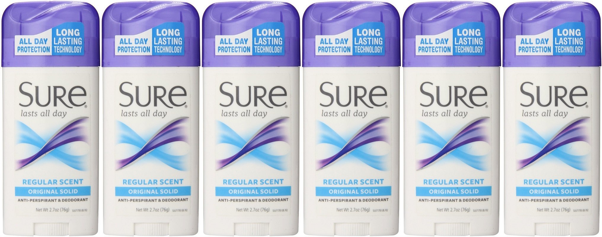 Sure Original Solid Anti Perspirant and Deodorant, Regular Scent, 2.7-Ounces (Pack of 6) by Sure (Image #1)