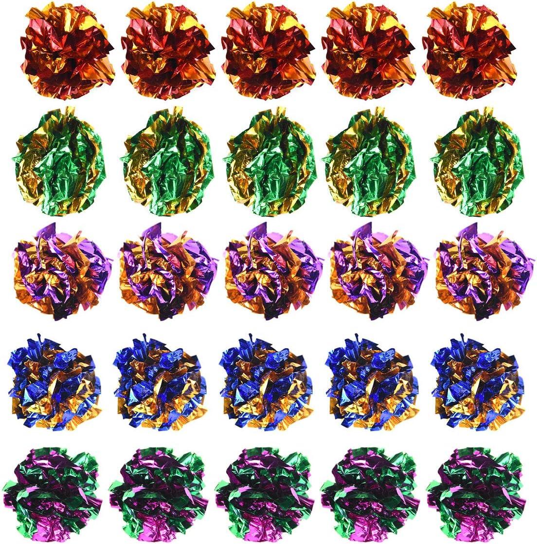 Mylar Balls Crinkle Balls Kitten Toys Cats Toys Balls Doryum 20PCS Colorful Crinkle Balls Cat Toys Cat Toys Balls Rustle Sound Ball Fun Toy for Cats Kitten Dog Playing Cat Interactive Toys