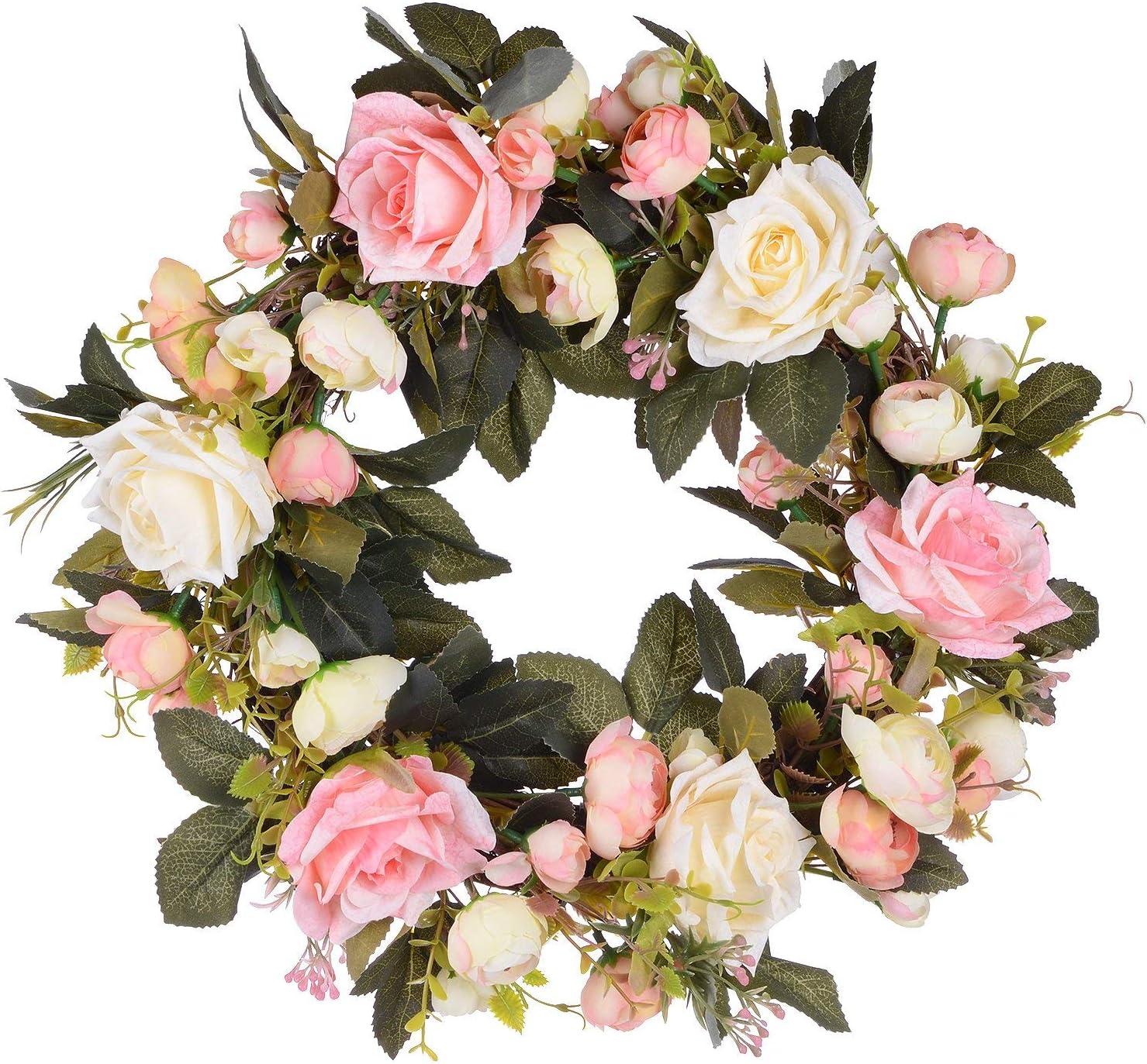 Artificial rose flower wreath for summer