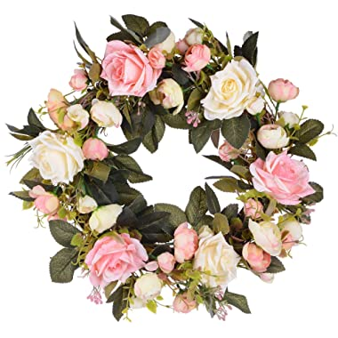 Lvydec Artificial Rose Flower Wreath - Door Wreath 13 Inch Fake Rose Spring Wreath for Front Door, Wall, Wedding, Home Décor