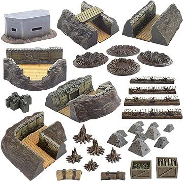 War World Gaming World at War - Sistema de Trincheras Completo - 28mm, WW1, Wargames, Miniaturas, Escenografía, Gran Guerra, Contienda Militar: Amazon.es: Juguetes y juegos