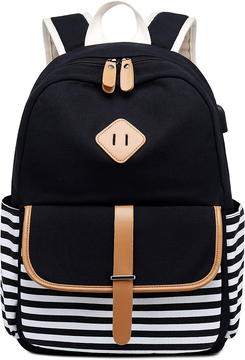 Canvas Travel Laptop Backpacks Womens College Backpack School Bag 15 inch USB Daypack Outdoor With Trolley Case Slot