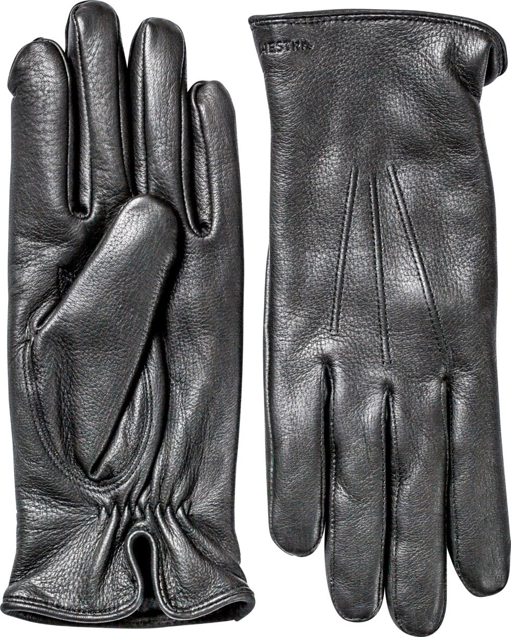 Hestra Mens Leather Gloves: Norman Cold Weather Wool Lined Winter Gloves, Black, 10