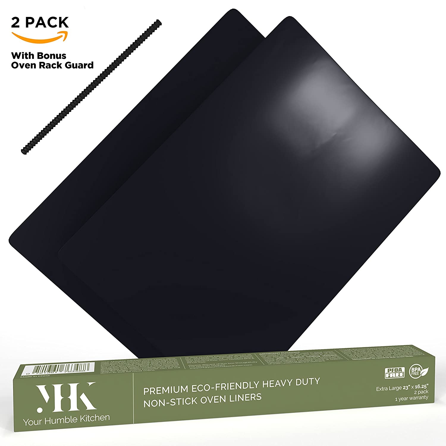 YHK 2 Pack Large Non-Stick Oven Liners - Premium Heavy Duty Liner for the bottom of Convection, Electric, Gas, Toaster & Microwave Ovens - Certified Protector BPA & PFOA Free