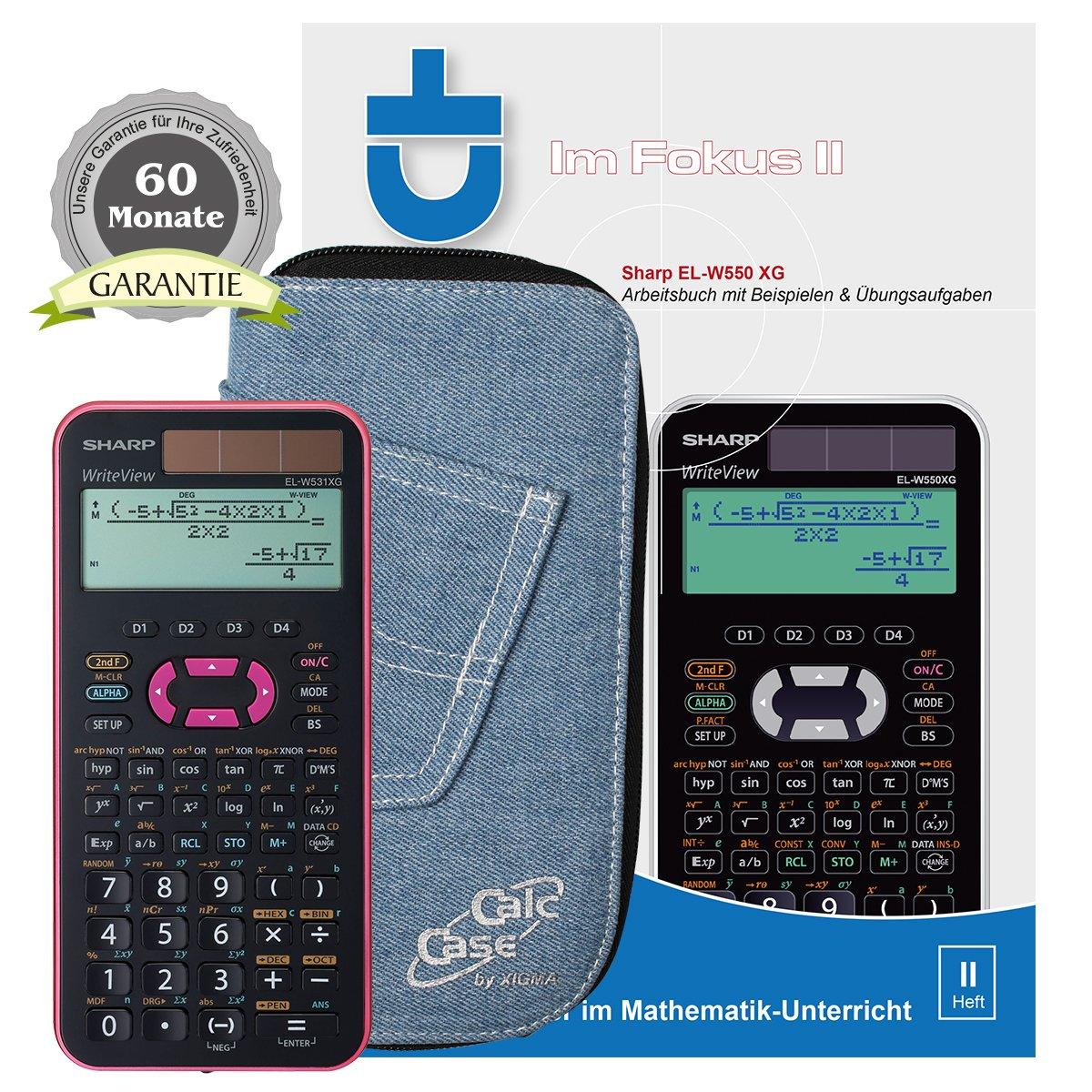 pink Buch: Im Fokus II Garantieverl/ängerung auf 60 Monate + CalcCase Schutztasche Schwarz Sharp EL-W531 XG PK