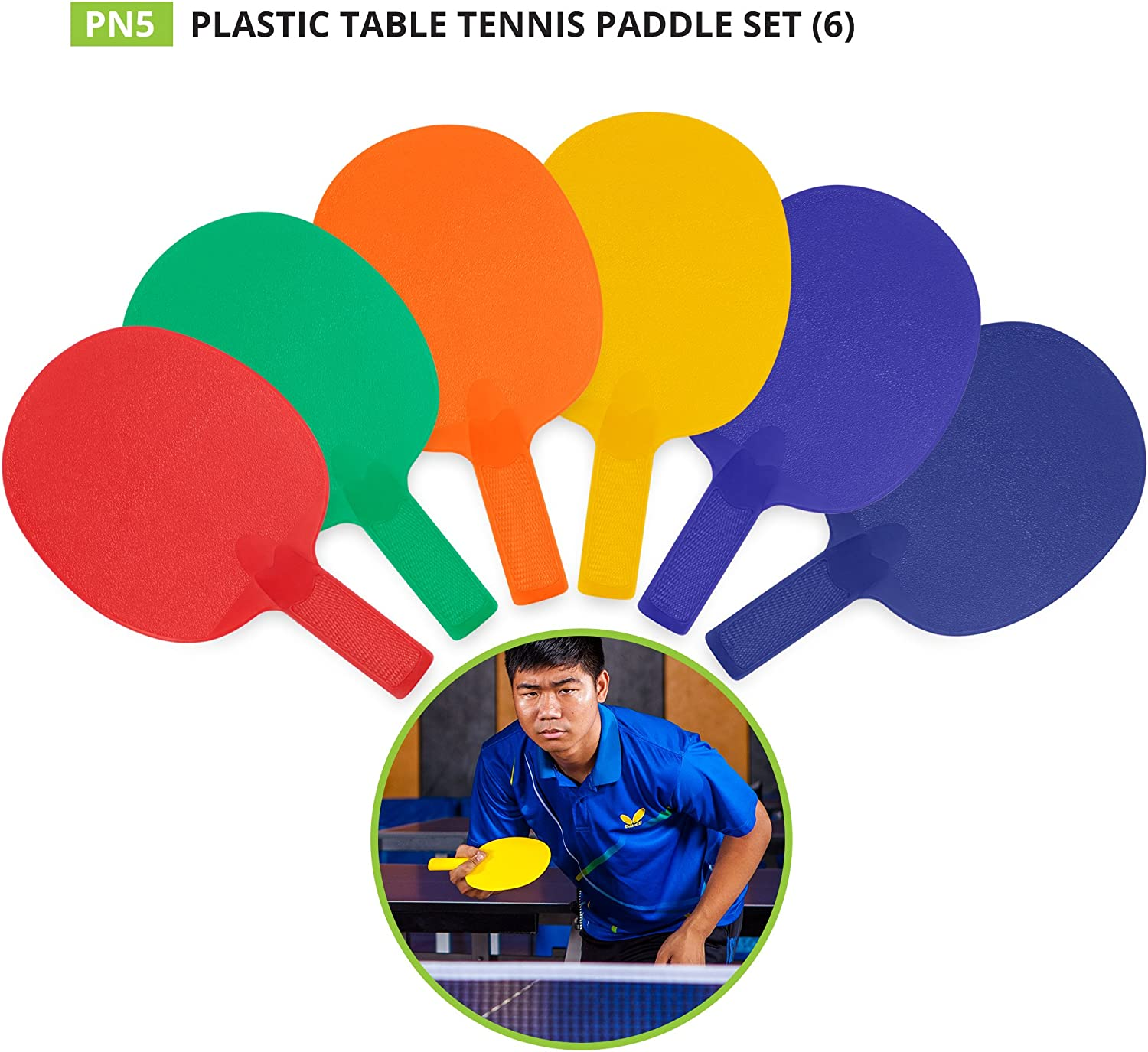 Champion Sports PN5 All-Plastic Table Tennis Racket Assorted