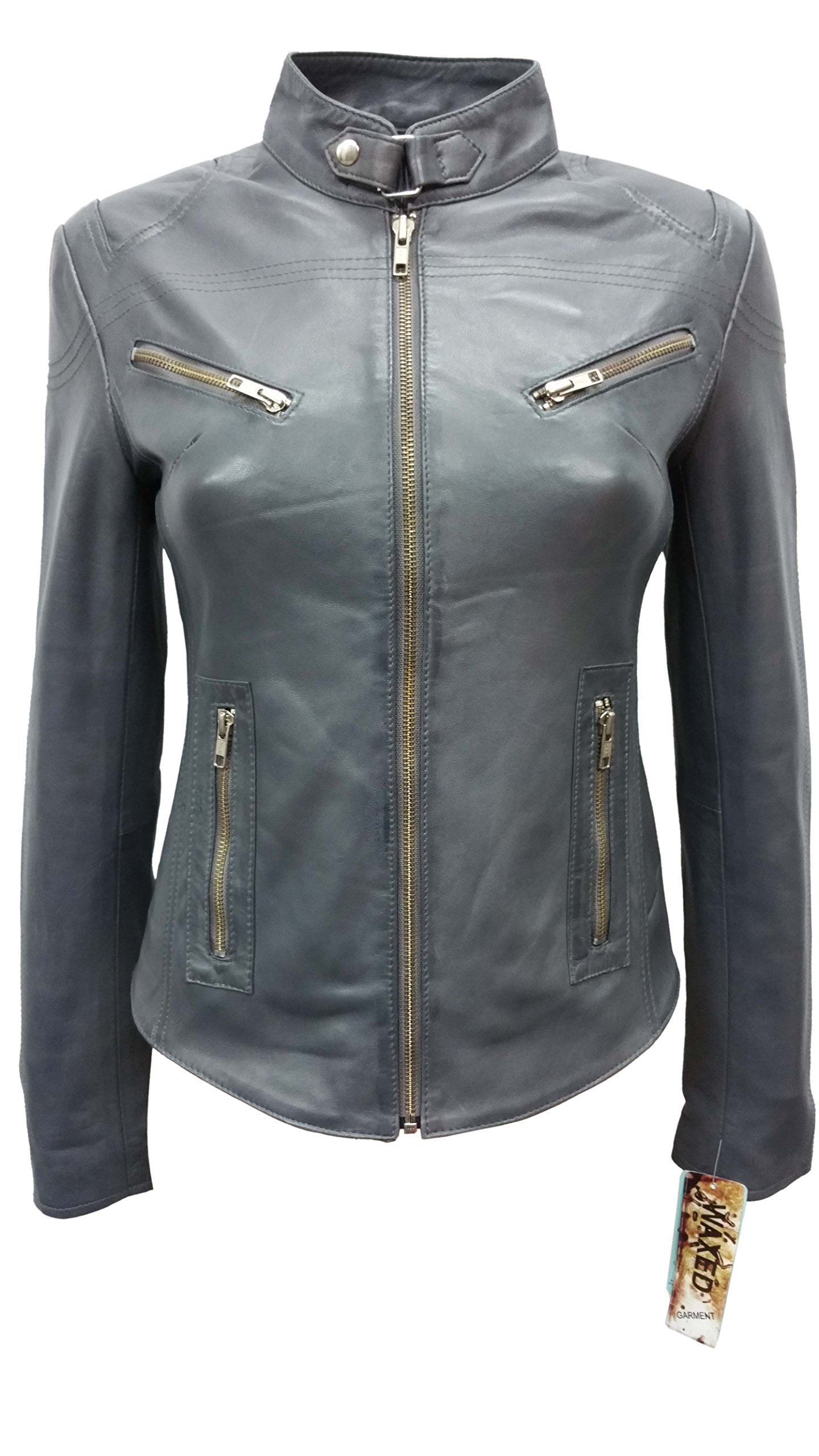 SPEED Ladies Grey Wax Designer Cool Retro Biker Style Motorcycle Leather Jacket (US 8/UK 12) by Smart Range