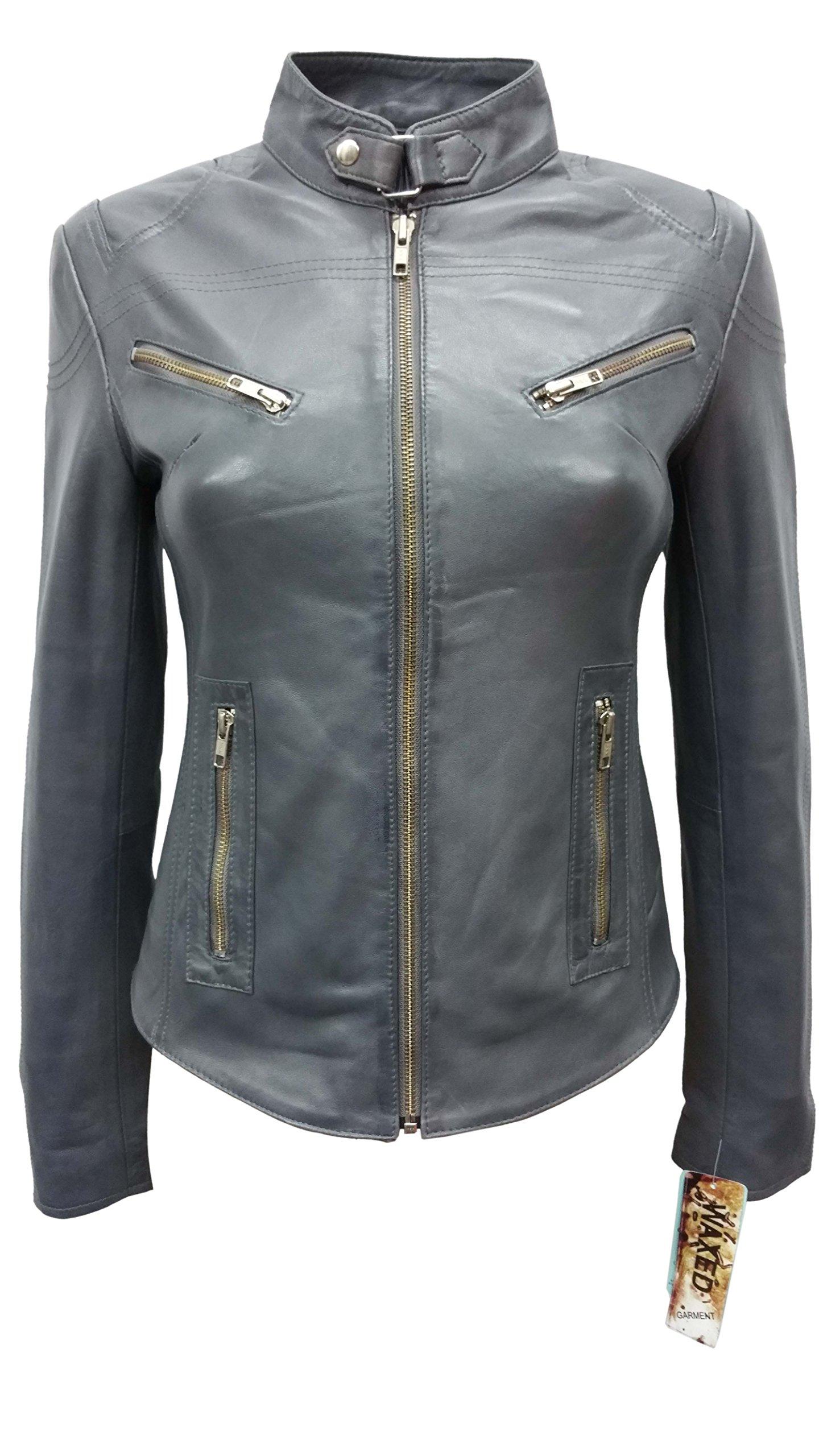 SPEED Ladies Grey Wax Designer Cool Retro Biker Style Motorcycle Leather Jacket (US 8/UK 12)