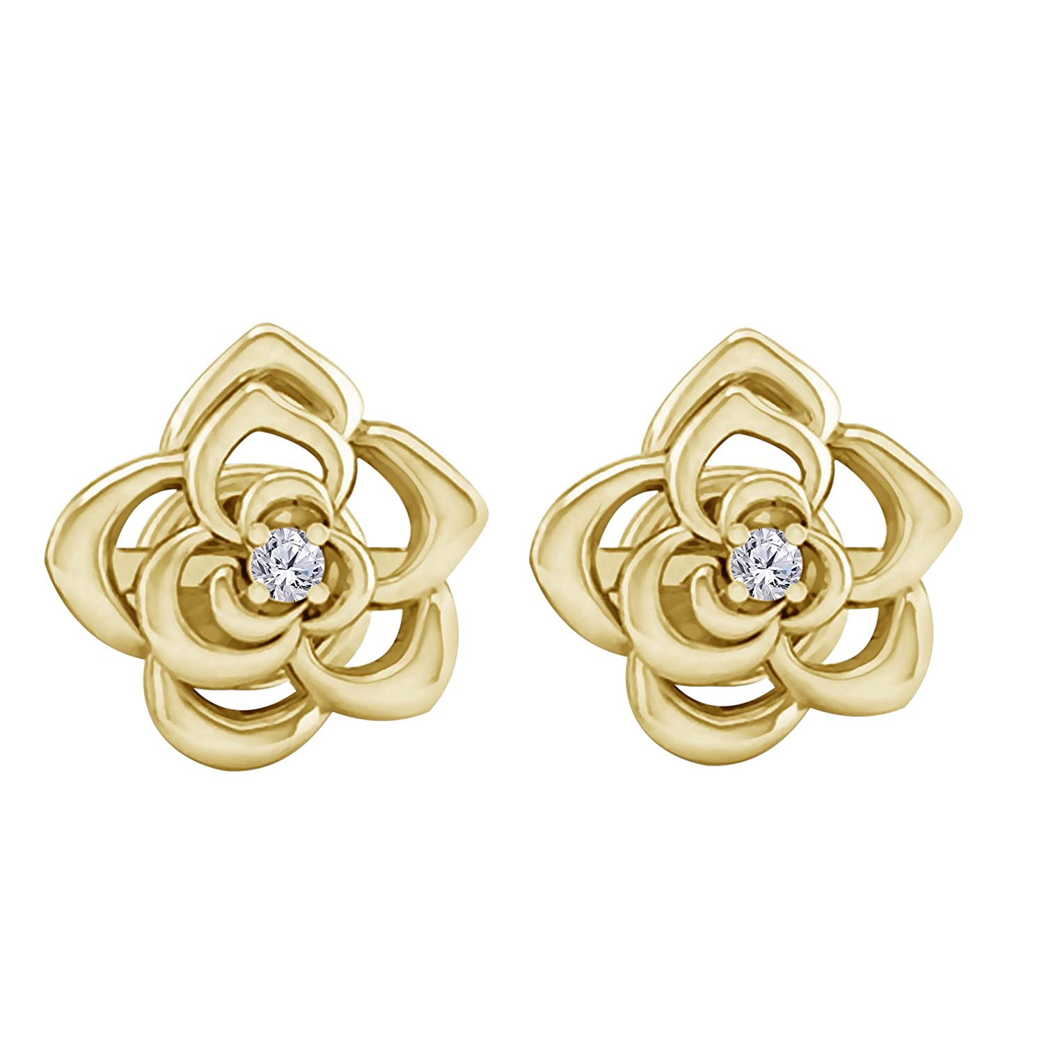 New Collection 14k Yellow Gold Over Alloy White CZ Diamond Belle Fashion Stud Earrings