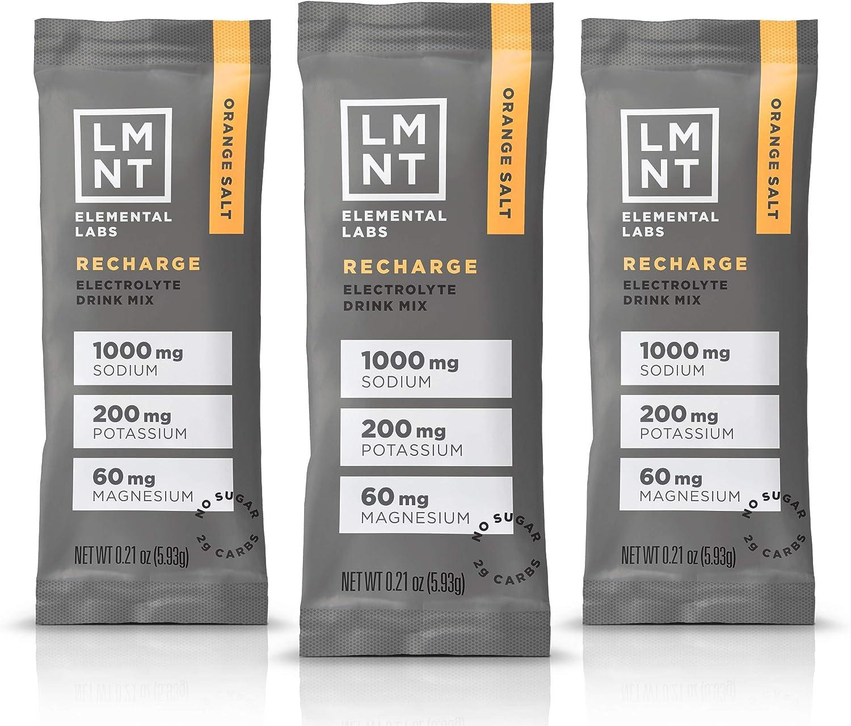 LMNT Electrolyte Drink Mix | Hydration Powder | Keto & Paleo | No Sugar, No Artificial Ingredients | Orange Salt | 30 Stick Packs