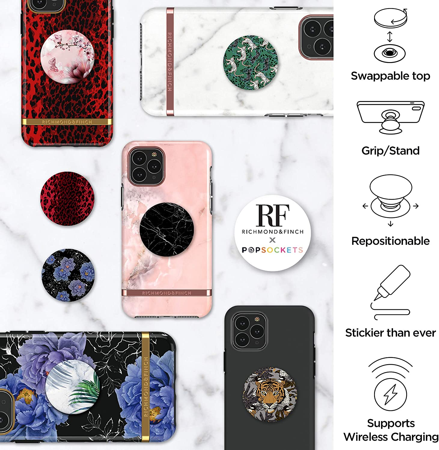 Richmond & Finch PopSocket PopGrip, Universal Expanding Mobile Phone Stand and Grip for Phones and Tablets, Includes Swappable Top, Pink Marble Floral: Amazon.es: Electrónica
