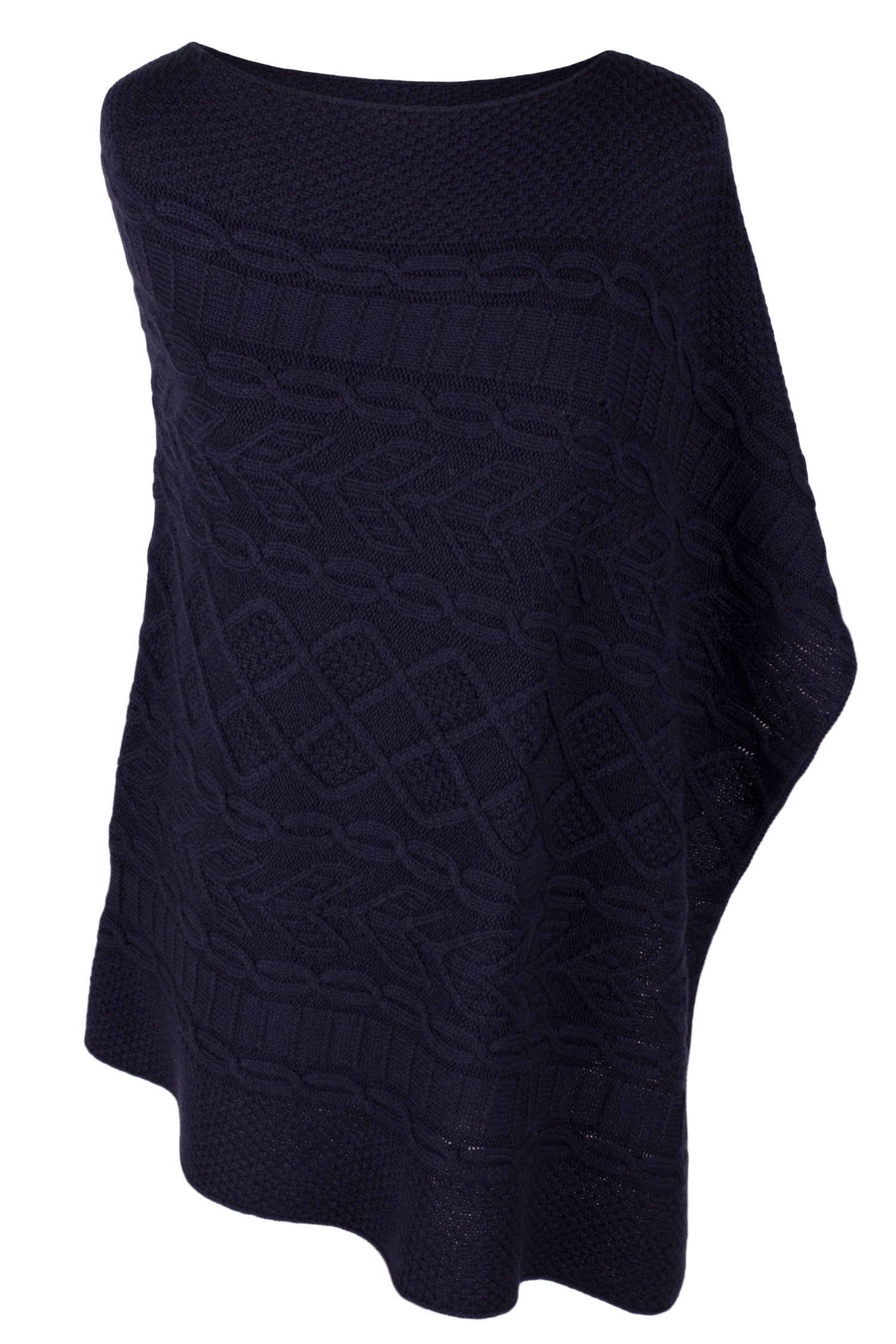 Women's 100% Cashmere Cable Poncho - Navy Blue - made in Scotland by Love Cashmere