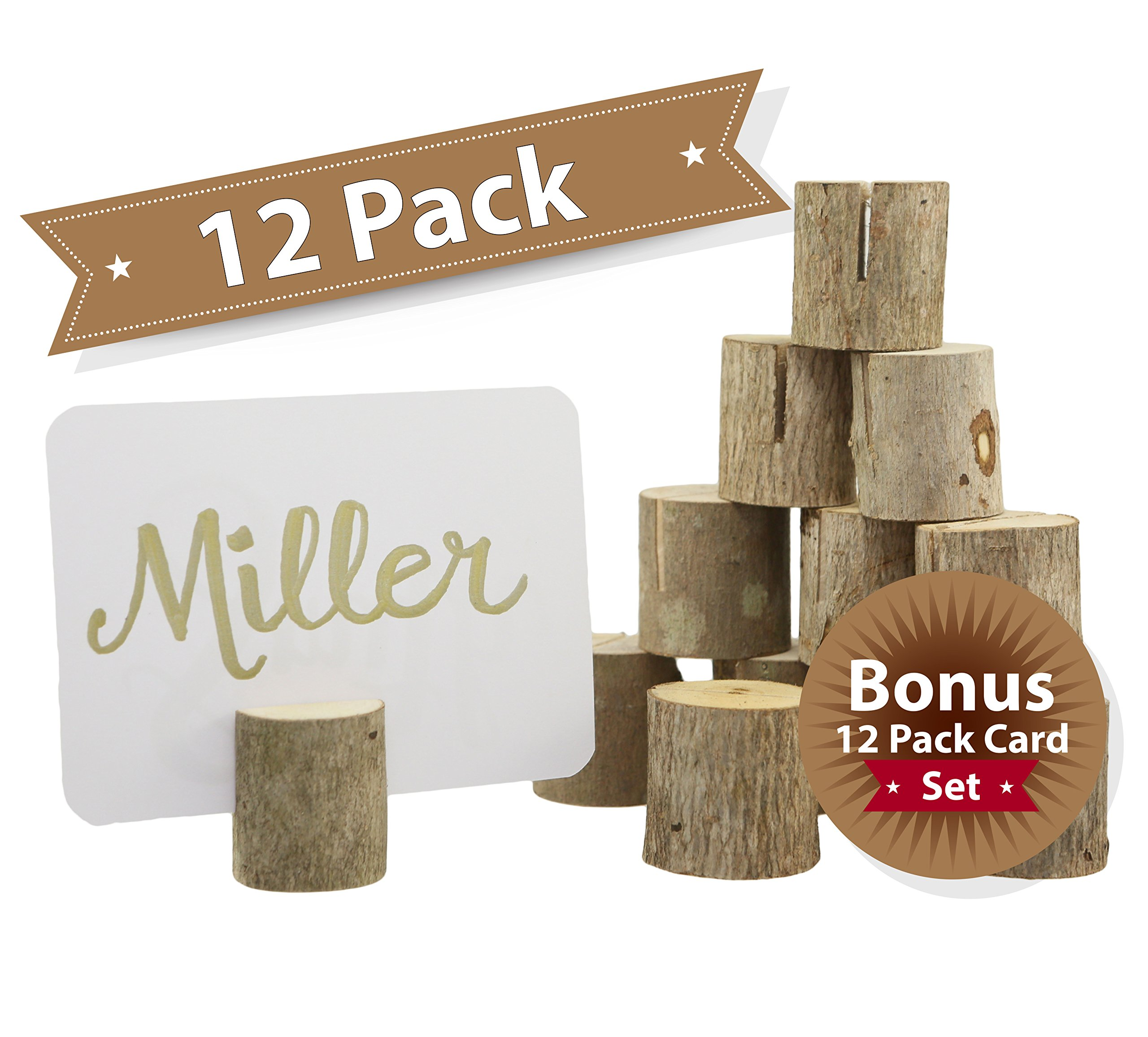 Happy Magnolia 12 Pack Wooden Place Card Holders With Bonus 12 Place Cards For Wedding Home Business Birthday Party Decorations Table Numbers Made From All Natural Hardwood by Happy Magnolia