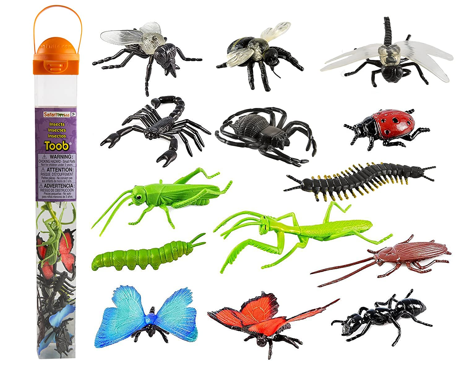 Safari Ltd Insects TOOB – Comes With 14 Toy Figurines – Including  Caterpillar, Dragonfly, Centipede, Grasshopper, Ladybug, Spider,  Butterflies, Bee,