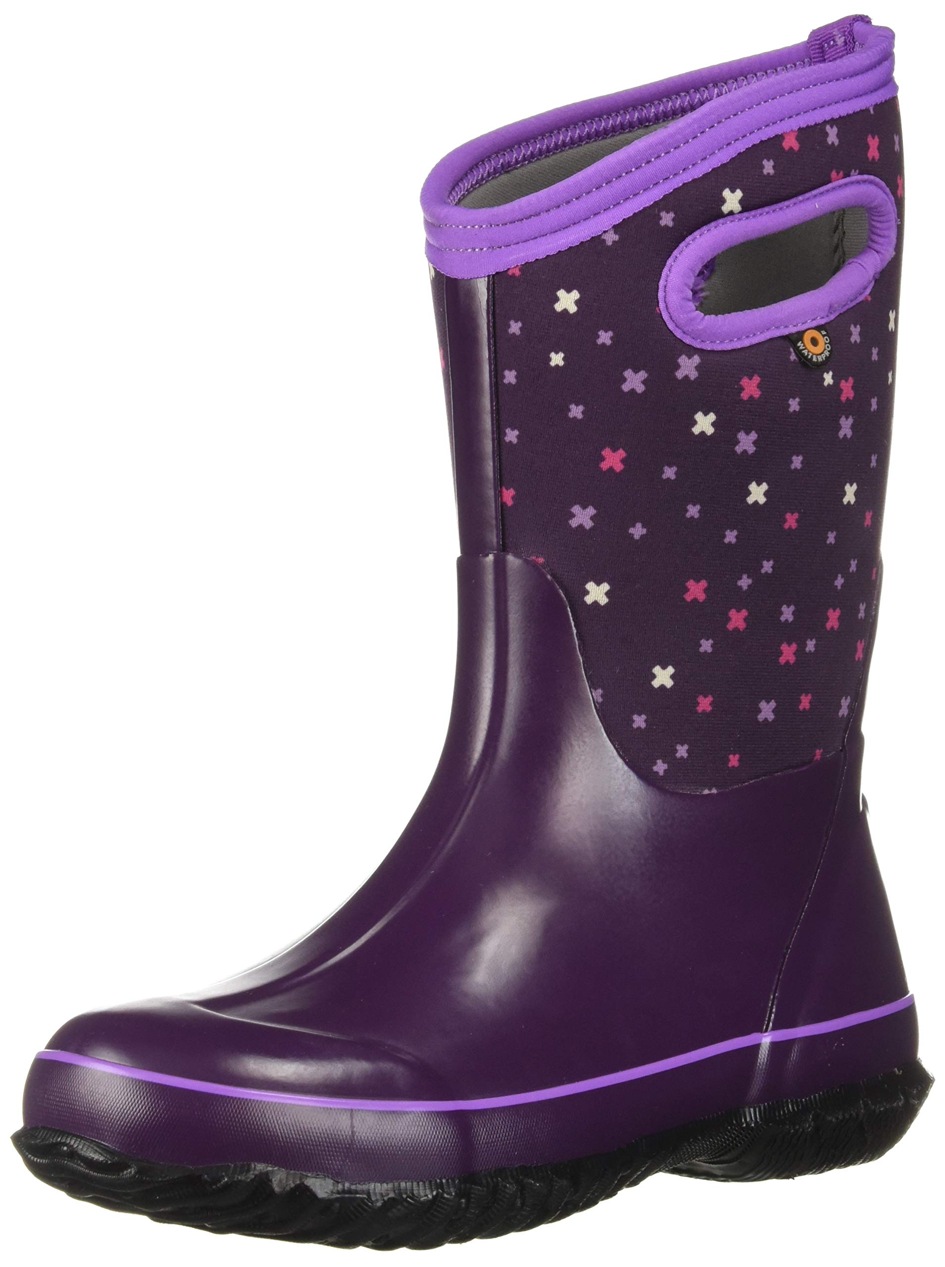 Bogs Kids' Classic High Waterproof Insulated Rubber Neoprene Rain Boot Snow, Plus Eggplant Multi 7 M US Toddler