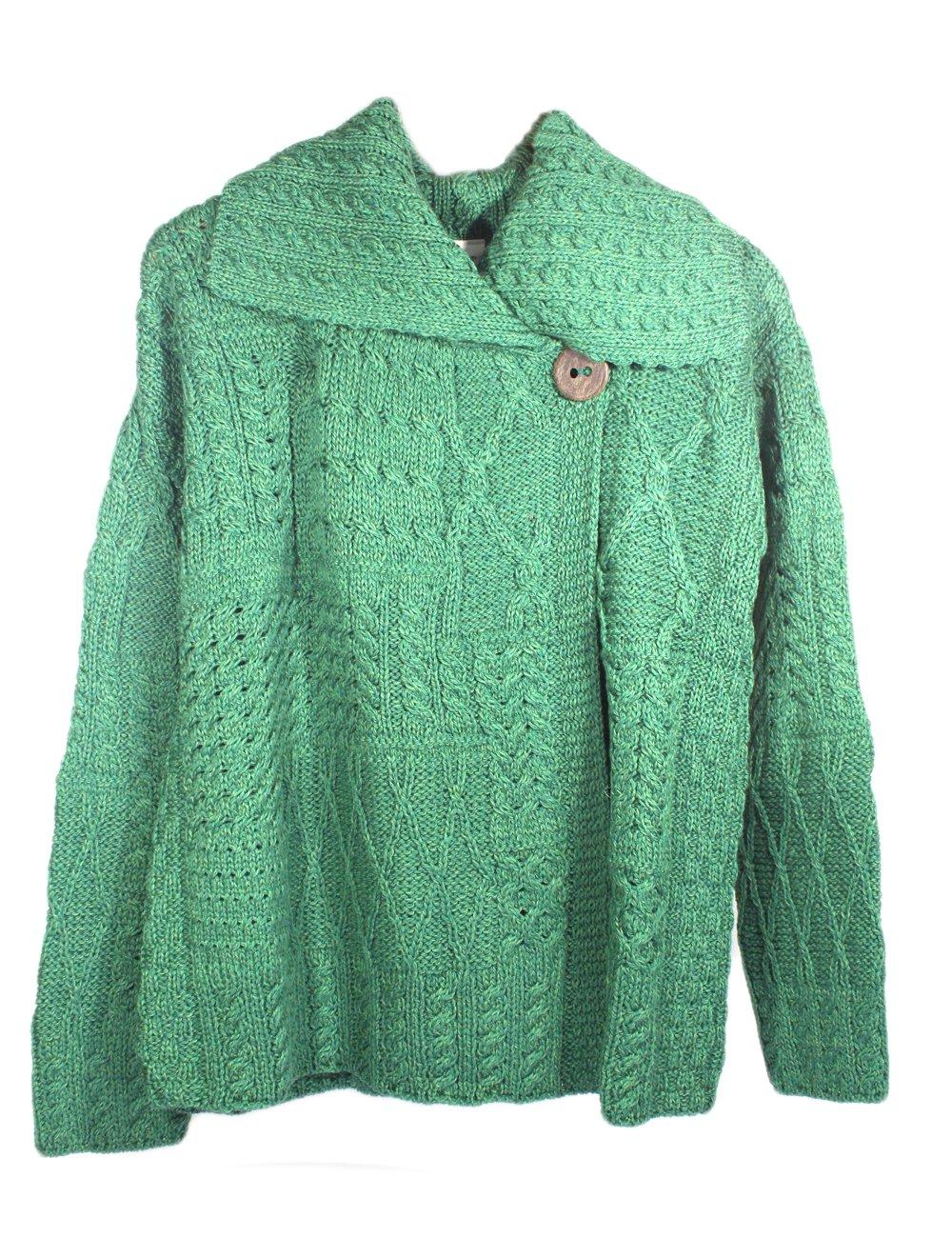 Carraig Donn Ladies Patchwork Cardigan, Kiwi Green A313