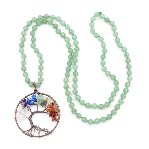 Collar de Piedras Preciosas Perlas Mala, 108 Buddhist Prayer Beads Collar, Collar anudadas a