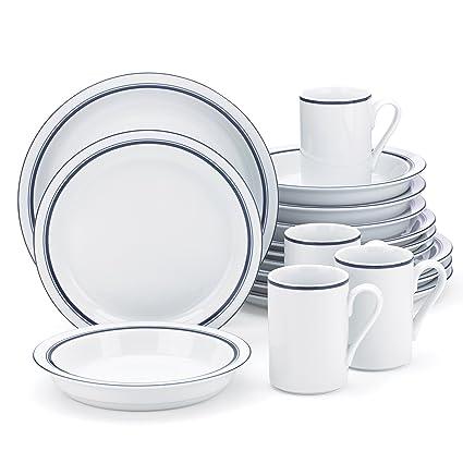 Amazon.com | Dansk Bistro Christianshavn Blue 16 Piece Dinnerware ...