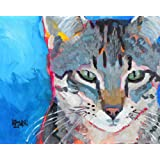 set of 8 greeting cards gray cat green eyes painting portrait memorial gift Gray cat in watercolor portrait art print with white mat