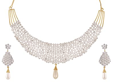 Sets Jewellery & Watches Gold Plated Jewellery Set Necklace And Earrings Zircon