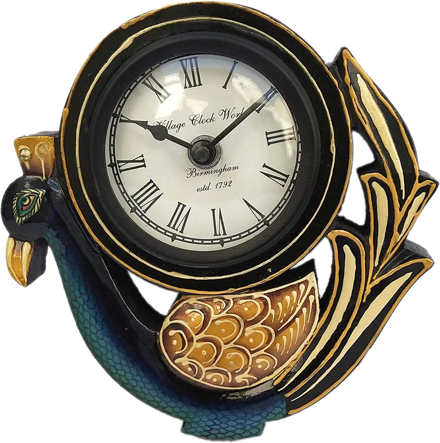 Laxman Art Wooden Peacock Hand Crafted and Hand Painted Ethnic Vintage Wall and Table Clock (Single Peacock)