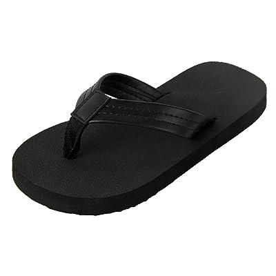 23e30feb75b 4HOW Unisex Flip Flops Sandal for Little Kid Big Kid Black