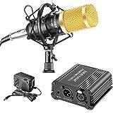 Neewer Kit de micrófono y alimentación Phantom NW-800: (1) micrófono NW-800 + (1) 48 V alimentación PHANTOM + (1) adaptador d