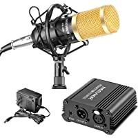 Neewer Kit de micrófono y alimentación Phantom NW-800: (1) micrófono NW-800 + (1) 48 V alimentación PHANTOM + (1…