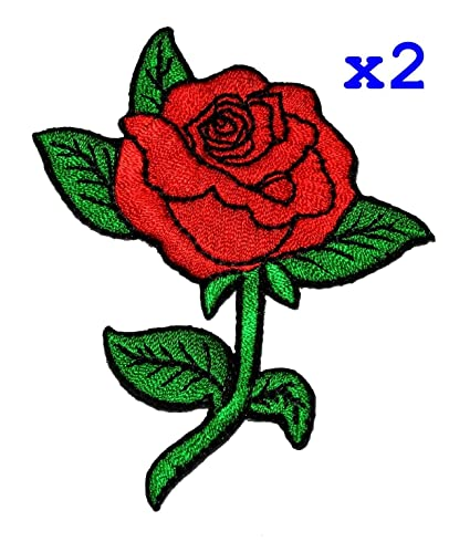 d993c2d8c Amazon.com: Pack of 2 Red Rose DIY Applique Embroidered Sew Iron on ...